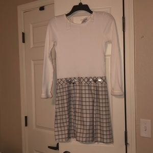 Cream and Grey Sweater Dress